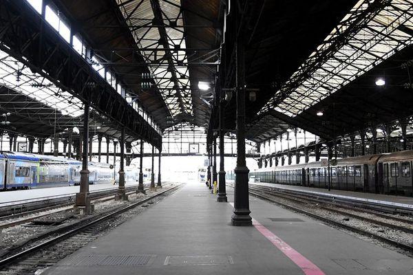 """La gare Saint-Lazre, où arrivent bon nombre de trains """"normands"""", le 3 avril 2018"""