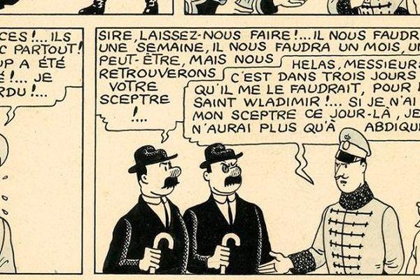 "Aperçu de ce trésor de planche, tirée de l'album de Tintin ""Le Sceptre d'Ottokar""."