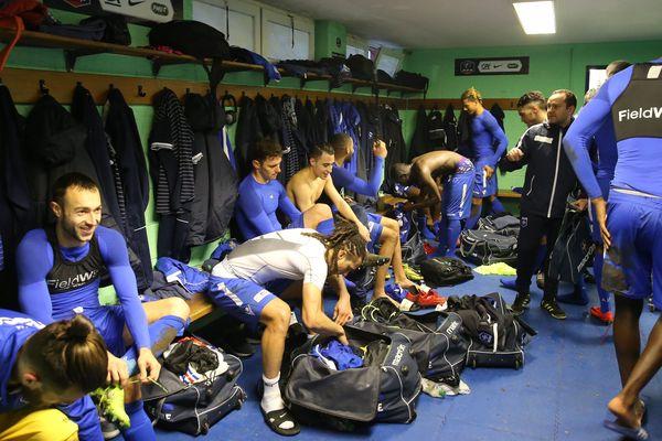 Dans le vestiaire de l'AJA après le match des 32ème de Finale de la Coupe de France de Football entre Sporting Schiltigheim (en vert) et l'AJ Auxerre (en bleu). (archives)