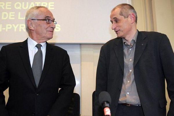 Gérard Onesta, ici aux côtés de Martin Malvy, l'encore président du Conseil Régional de Midi-Pyrénées.