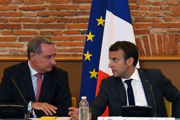 Jean-Luc Moudenc et Emmanuel Macron en septembre 2017 à Toulouse