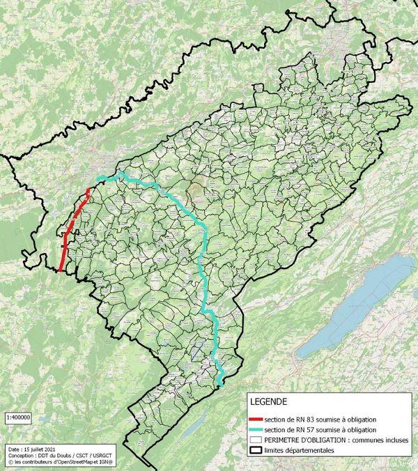 Plus de 350 communes et deux importants axes routiers du Doubs font partie du périmètre d'obligation.