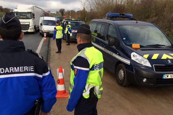 Contrôles de gendarmerie sur la RN 249, entre Cholet et Bressuire