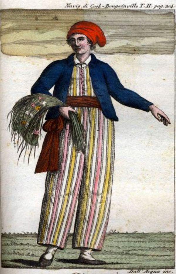 Imprimé du XVIIIe siècle qui représenterait Jeanne Barret.