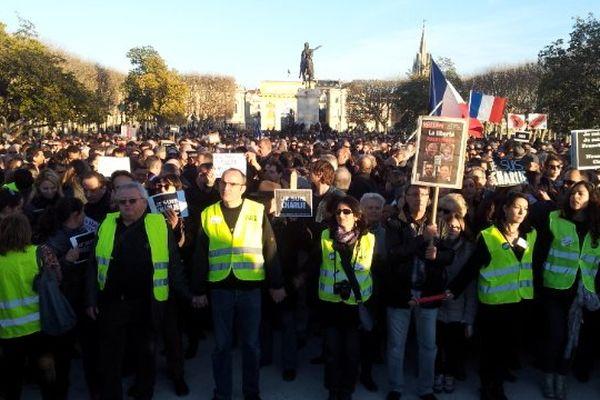 Montpellier - le cortège est arrivé au Peyrou, un cliché avant les discours - 11 janvier 2015.