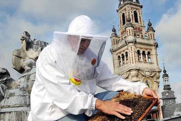 Un apiculteur sur les toits de l'opéra de Lille, en 2009