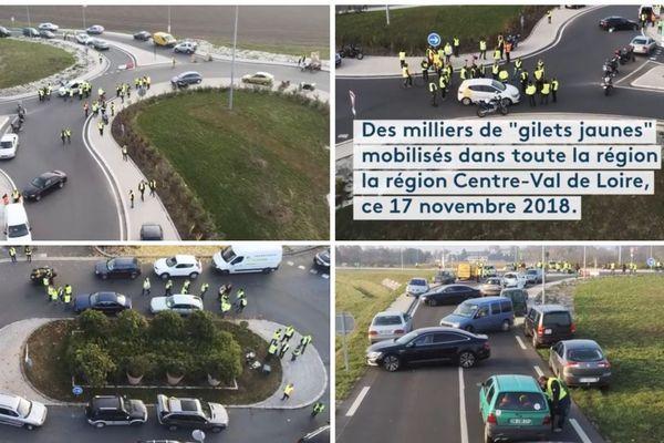 """Ce 17 novembre 2018, le mouvement des """"gilets jaunes"""" a été particulièrement suivies dans les 6 départements du Centre-Val de Loire"""