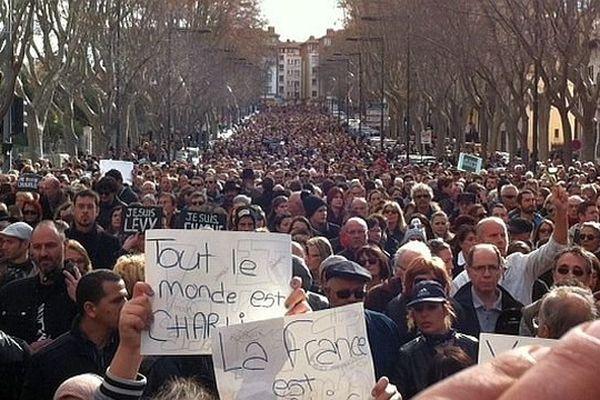 Perpignan - le cortège - 11 janvier 2015.
