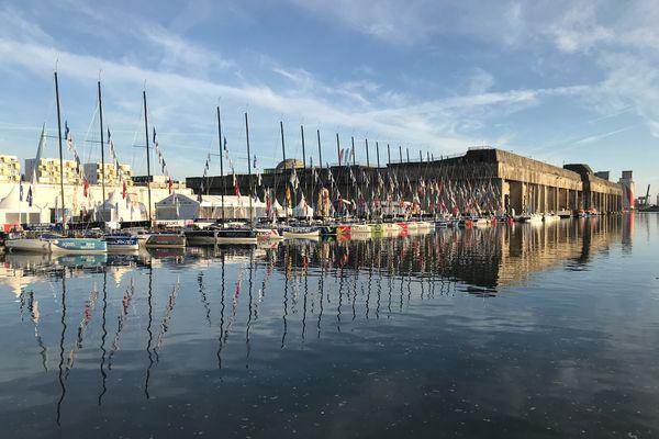Les voiliers de la Solitaire du Figaro, dans le bassin de Saint-Nazaire, au terme d'un mois de course en quatre étapes