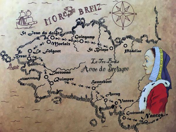 La carte du périple d'Anne de Bretagne à travers son Duché