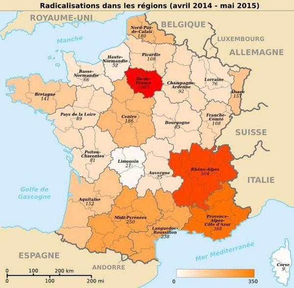 Le nombre de radicalisations dans les régions
