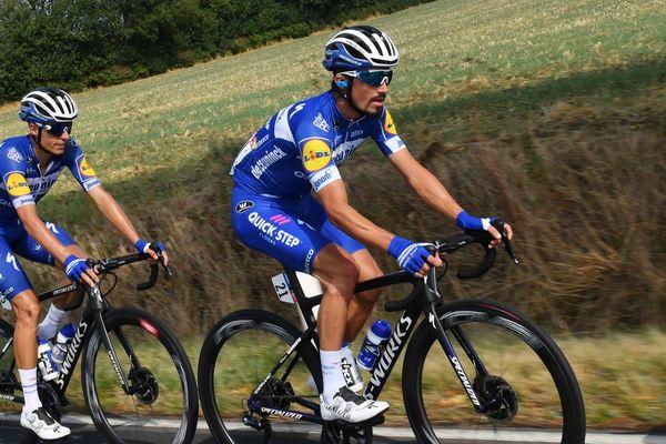 Julian Alaphilippe au Tour d'Allemagne en août 2019. Le coureur cycliste montluçonnais, Julian Alaphilippe, n'a pas pris le départ de la troisième étape du Tour de San Juan (Argentine), mardi 28 janvier.