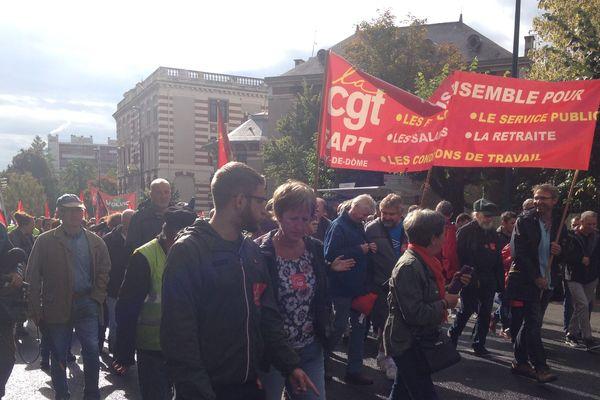 A Clermont-Ferrand, mardi 24 septembre, le cortège des manifestants est parti depuis le parvis de la gare SNCF.