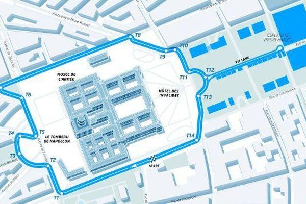 Pas moins de 14 virages composeront le circuit parisien long de 1.93 km qui entourera le Musée de l'Armée et le Tombeau de Napoléon.