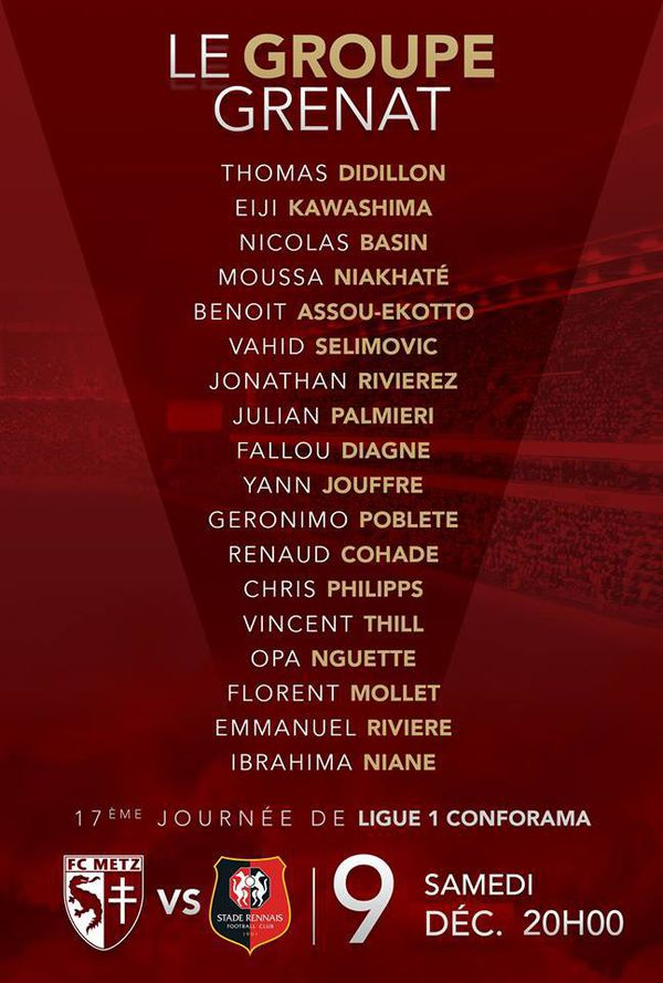 Groupe du FC Metz contre Rennes - capture page FB du club