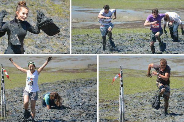 La course de sabots de planche sur vase un des rendez-vous apprécié des spectateurs lors de la semaine du Golfe du Mobihan.