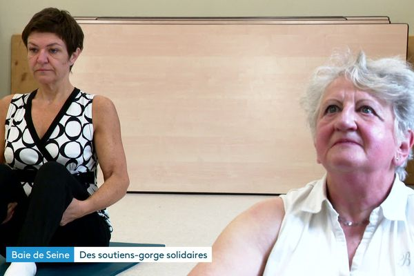 Deux femmes en rémission d'un cancer du sein en plein exercice de renforcement musculaire