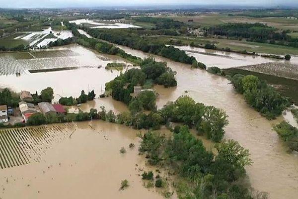 Aude - la crue et les inondations au nord de Carcassonne - 15 octobre 2018.