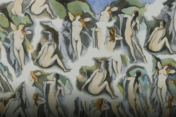 """""""D'après Cézanne, les Baigneuses"""", d'Henri Cueco, au musée Granet."""