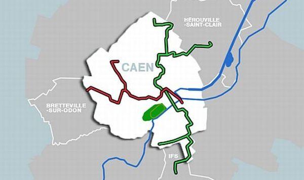Le tracé du futur réseau de tramway de l'agglomération de Caen