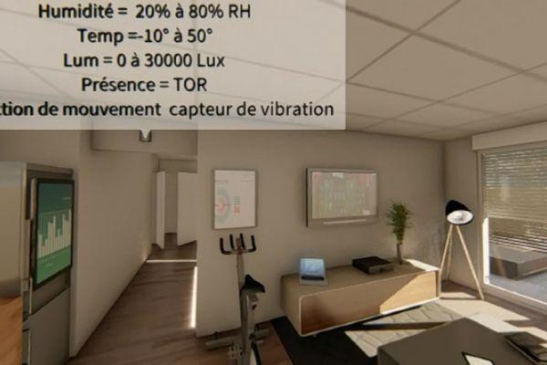 Images de synthèse de l'appartement connecté fournies par HUT détaillant la position des capteurs et leur fonction
