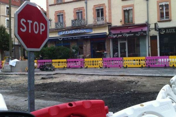 Le chantier du Tram E cours de la Libération à Grenoble