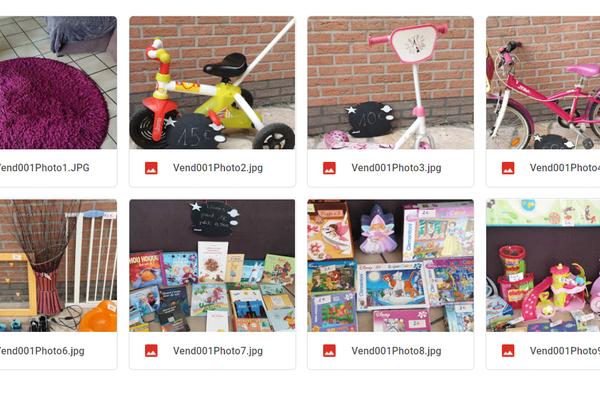 Des photos et un prix fixé par le vendeur pour chaque objet proposé