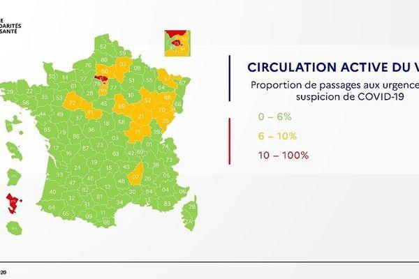 """L'Ardèche, seul département d'AURA, de couleur orange pour une """"circulation active du virus Covid-19"""". Carte du 3 mai 2020 établie par le ministère de la Santé."""