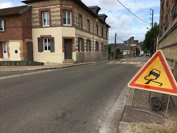 La rue du Val Pitan à Amfreville sous les Monts (27) où s'est produit l'accident