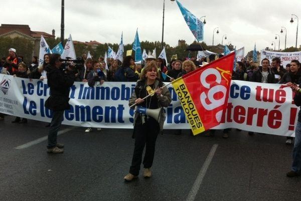 Le salariés inquiets du Crédit Immobilier de France ont manifesté