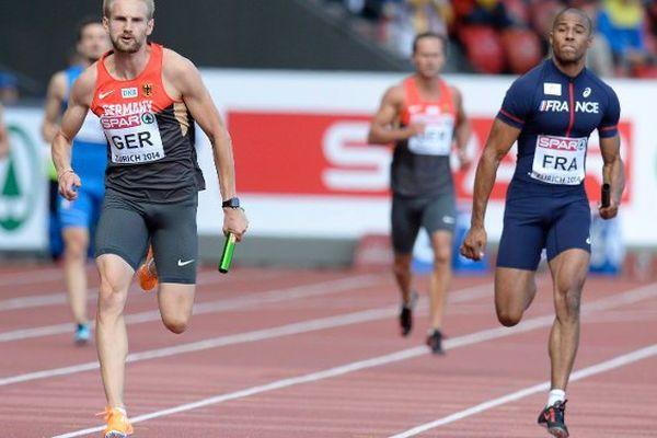 Ben Bassaw (à droite) lors des championnats d'Europe d'athlétisme en 2014.