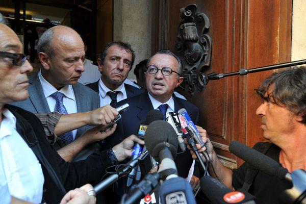 Jean-Noël Guérini au palais de justice de Marseille en 2011 lors de sa mise en examen.