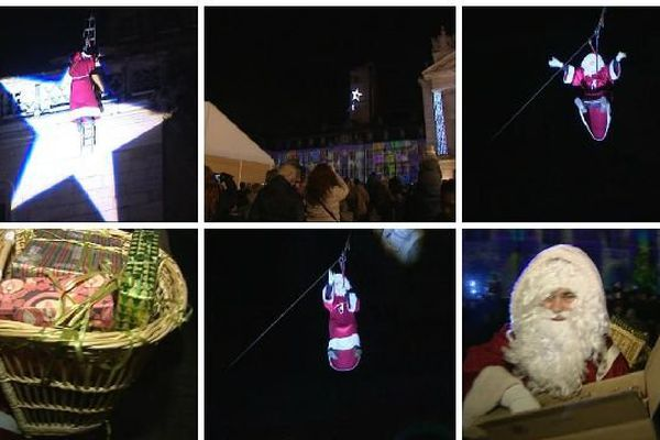 Depuis 1951, tous les 24 décembre au soir, le Père Noël descend en rappel du tot de l'hôtel de ville de Dijon pour aller distribuer des papillotes.