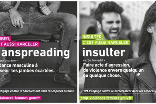 Deux des cinq affiches de la TBM pour la campagne contre le harcèlement dans les transports.