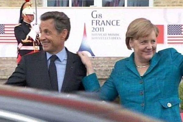 Sommet du G8 de Deauville en mai 2011 : Nicoals Sarkozy accueille Angela Merkel