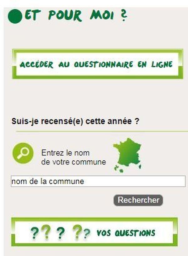 Vérifiez si vous êtes concerné par le recensement en entrant le nom de votre commune dans le moteur de recherche qui se trouve sur le site internet.