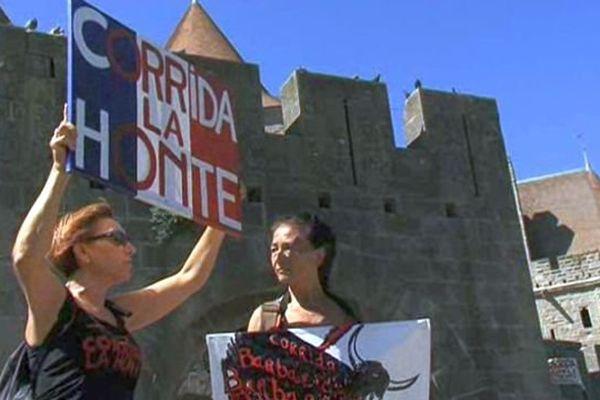 Manifestation des anticorridas aux pieds de la Cité de Carcassonne. 30 août 2015.