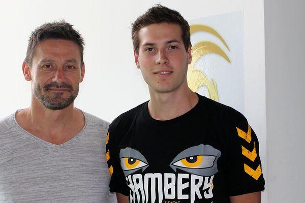 Maxime Diot (à droite) et le manageur du CSH Laurent Munier (à gauche).
