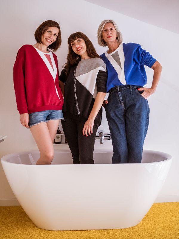 Angélique Lecomte en shooting avec ses modèles.