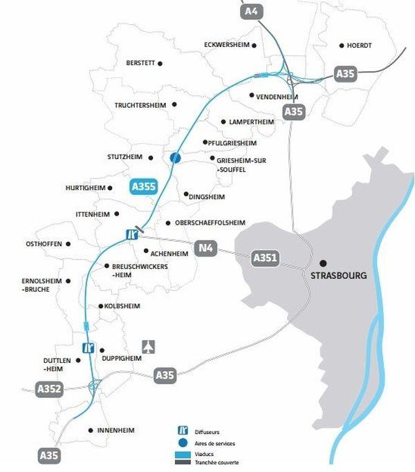 Le plan du projet du contournement ouest de Strasbourg, qui verra le jour d'ici 2020.