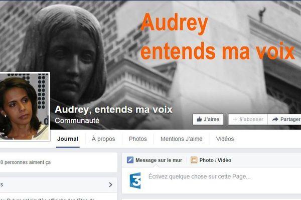 """Capture d'écran de la page Facebook """"Audrey, entends ma voix""""."""