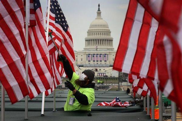 Préparation de la cérémonie d'investiture de Joe Biden à Washington