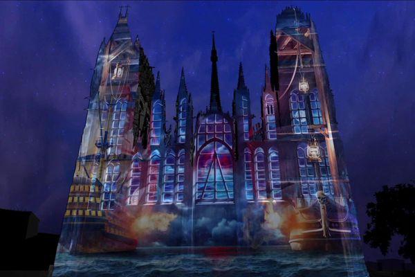 """Rouen : une des scènes de """"Cathédrale de lumière 2019"""""""