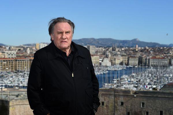 Gérard Depardieu, le 18 février à Marseille pour présenter la saison 2 de la série Marseille sur Netflix.