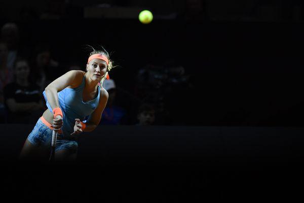 Kristina Mladenovic pendant la finale du Tournoi de tennis de Stuttgart (Allemagne)