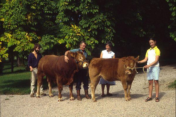 Régis Coudert (au centre) éleveur de vaches limousines avec des membres de sa famille