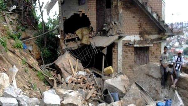 Un quartier d'Antananarivo après un cyclone lors d'une mission de PUI à Madagascar