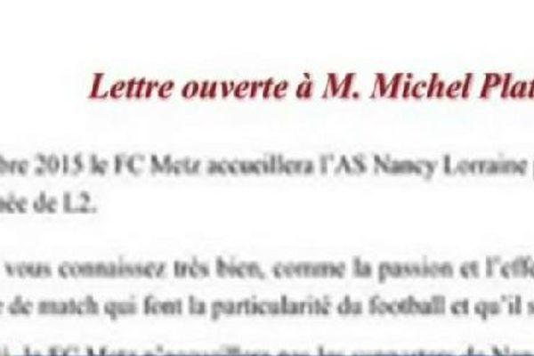 Les fans de l'ASNL en appellent à Michel Platini.