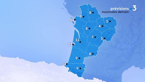Les températures maximales seront comprises entre 5 degrés à Guéret et Brive et 13 degrés le maximum à Arcachon...