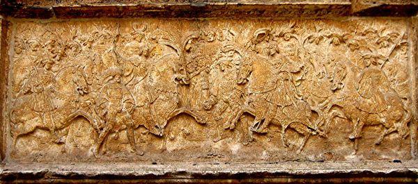 Bas-relief montrant la rencontre du Camp du Drap d'Or, à l'Hôtel de Bourgtheroulde de Rouen.